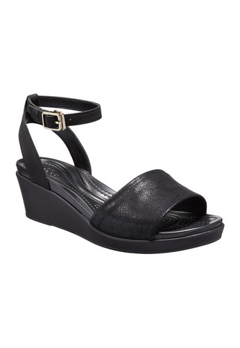 9da62959fc0841 CROCS black CROCS Leigh Ann Shimmer Ankle Strap Wedge Women s Casual Shoes  CR024SH583AOTH 1